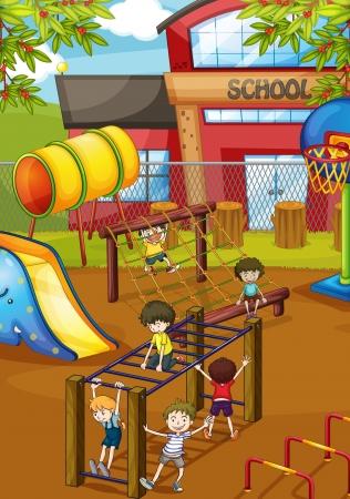 niños jugando en la escuela: ilustración de niños jugando en un juego de la hermosa naturaleza