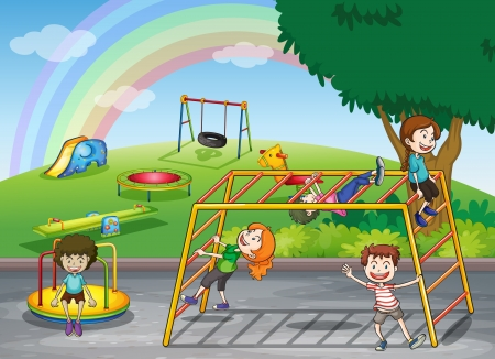 illustration of kids playing game in a beautiful nature