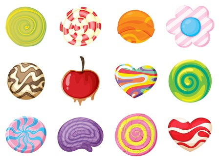 lolly: illustration of various sweets on a white background