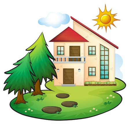 arboles de caricatura: ilustraci�n de una casa en una hermosa naturaleza