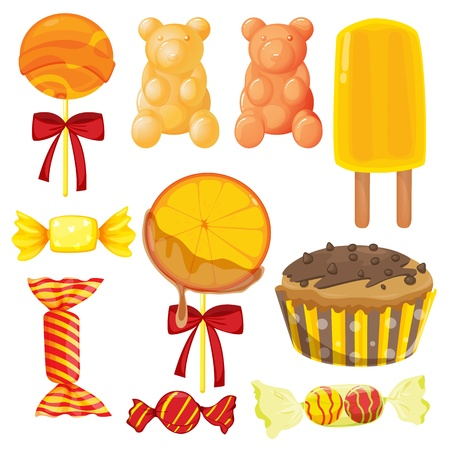 yum: illustration of various sweets on a white background