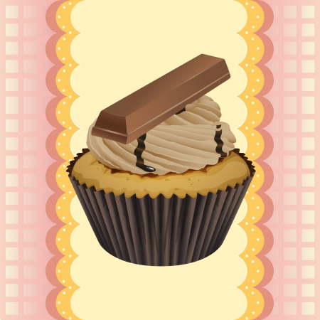 cake with icing: Illustration of an isolated cupcake and a wallpaper Illustration