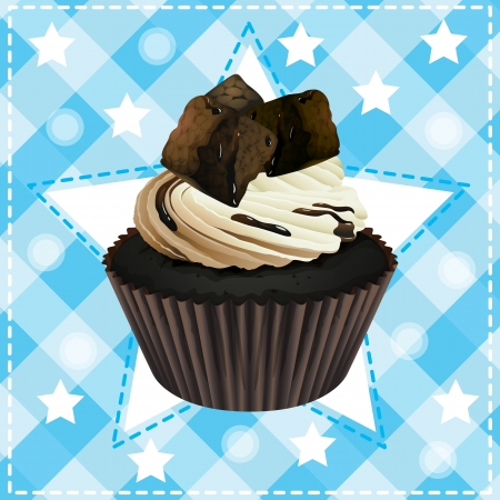 Illustration of an isolated cupcake and a wallpaper Stock Vector - 16319648
