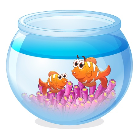 water tanks: illustration of a water bowl and a fish on a white background