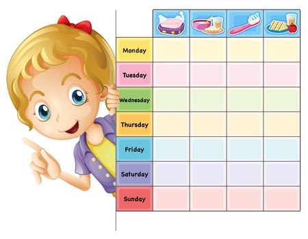 calender: illustration of a girl and a table on a white background Illustration