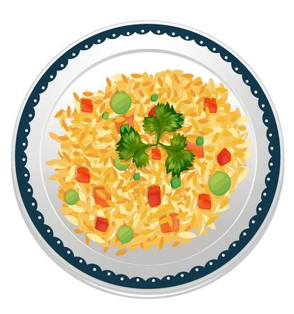 hot plate: Ilustraci�n de un arroz y un plato sobre un fondo blanco