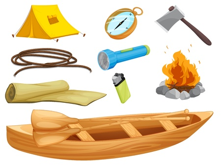 illustration of various objects of a camp on a white background Vector