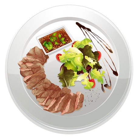 garnishing: illustration of a food and a dish on a white background