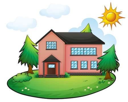 large house: illustration of a house in a beautiful nature Illustration
