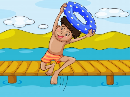 moutain: illustration of a boy and a water in a beautiful nature
