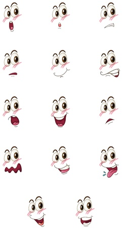 expression facial: illustration of  faces on a white background Illustration