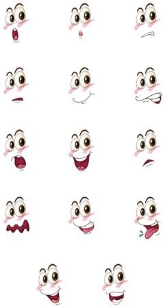 ojos llorando: Ilustraci�n de las caras en un fondo blanco Vectores