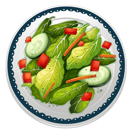 garnishing: illustration of a salad and a dish on a white background