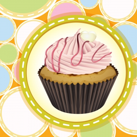 Illustration of an isolated cupcake and a wallpaper Stock Vector - 16319690