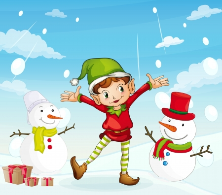 detailed illustration of an elve and a snowman Stock Vector - 16319711