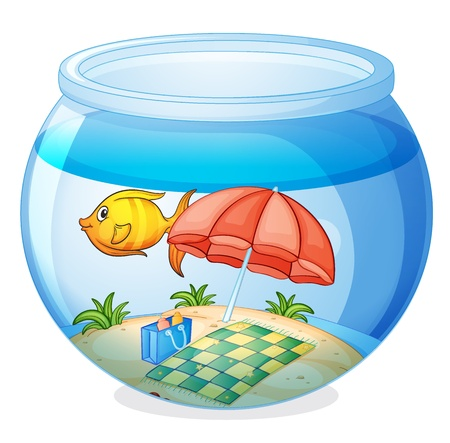 illustration of a water bowl and a fish on a white background Vector
