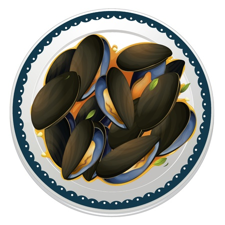 garnishing: illustration of mussels and a dish on a white background Illustration