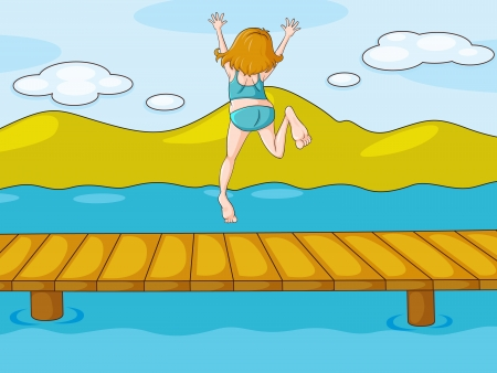 illustration of a girl and water in a beautiful nature Vector