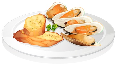 garnishing: illustration of mussels and garlic bread on a white background Illustration