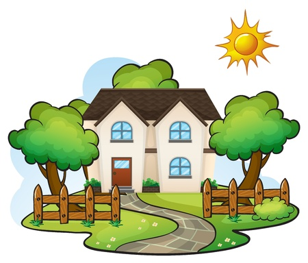 way: illustration of a house in a beautiful nature Illustration