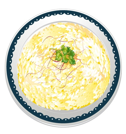 garnishing: illustration of risotto and a dish on a white background
