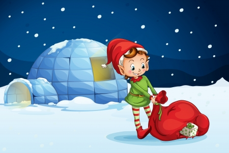 open window: illustration of an igloo and a boy in a nature Illustration