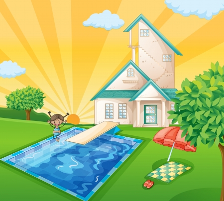 illustration of a house and a girl in a beautiful nature Vector