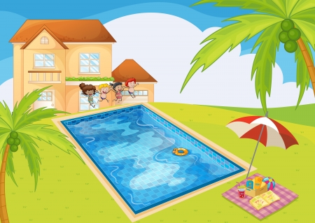 illustration of a house and kids in a beautiful nature Vector