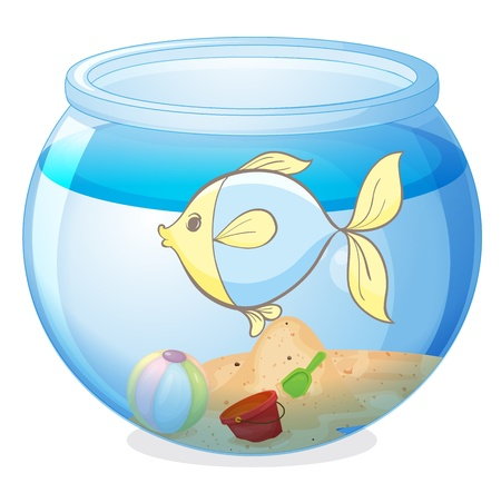 gold fish bowl: illustration of a water bowl and a fish on a white background