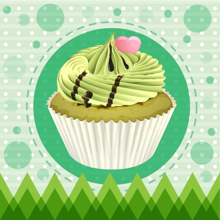 Illustration of an isolated cupcake and a wallpaper Stock Vector - 16319639