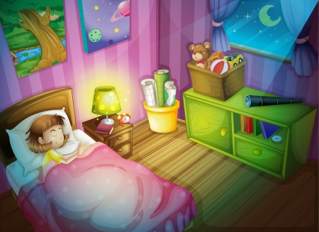 illustration of a girl in a bedroom at night Vector