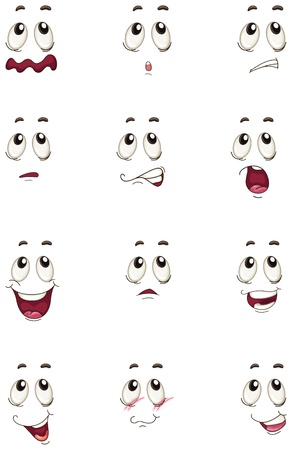 smiley face: illustration of faces on a white background