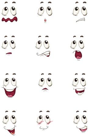 dientes caricatura: Ilustraci�n de las caras en un fondo blanco Vectores