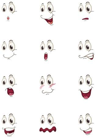 gesichter: Illustration der verschiedenen Gesichter auf wei�em Hintergrund