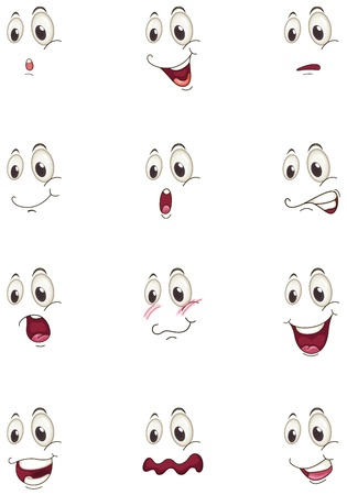 cartoon eyes: illustration of various faces on a white background