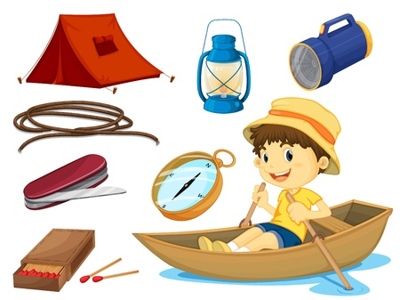 small tools: illustration of a boy and various objects of camping on a white background