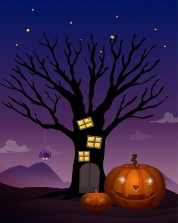atrocious: illustration of a halloween in a dark night