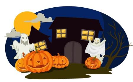 monstrous: illustrazione di halloween e fantasmi in una notte buia