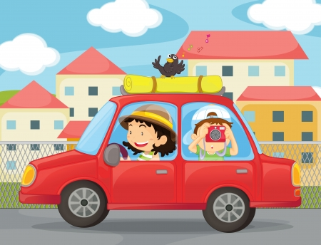 illustration of kids and a car in the city Vector