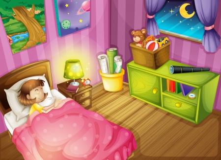 少女と美しいベッドルームのイラスト  イラスト・ベクター素材