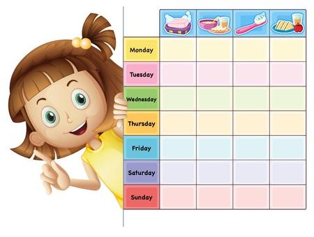 almanak: illustratie van een meisje en een kalender op een witte achtergrond Stock Illustratie