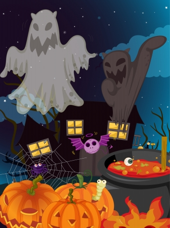 illustration of halloween and ghosts in a dark night Stock Vector - 16379275