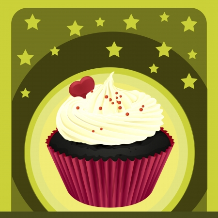 Illustration of an isolated cupcake and a wallpaper Stock Vector - 16379154