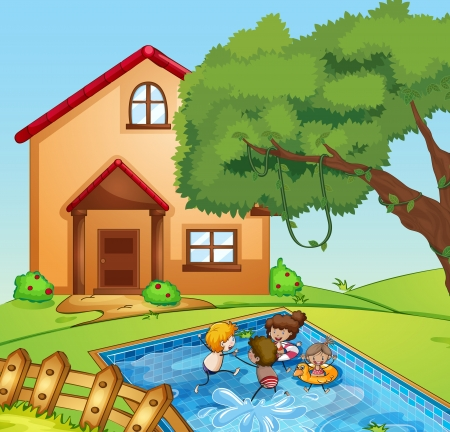 kids playing water: illustration of a house and kids in a beautiful nature