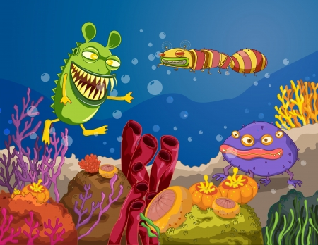 atrocious: illustration of a under water monster