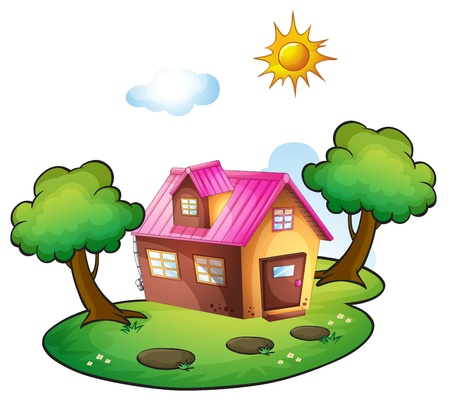 flora fauna: illustration of a house in a beautiful nature Illustration
