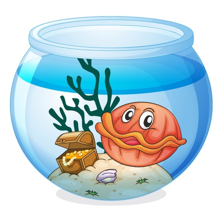 gold fish bowl: illustration of a water bowl and a shell fish on a white background Illustration