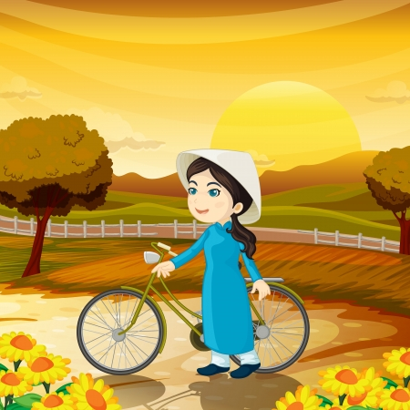 chinese hat: illustration of a girl in a beautiful nature Illustration