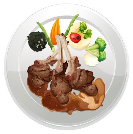 dinning: illustration of food and a dish on a white background