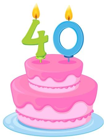 40: illustration of a birthday cake on a white background Illustration